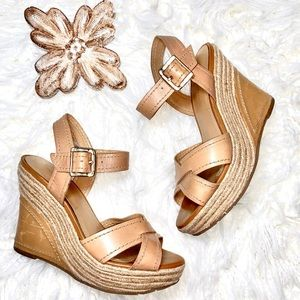 bcbg nude rattan wedge